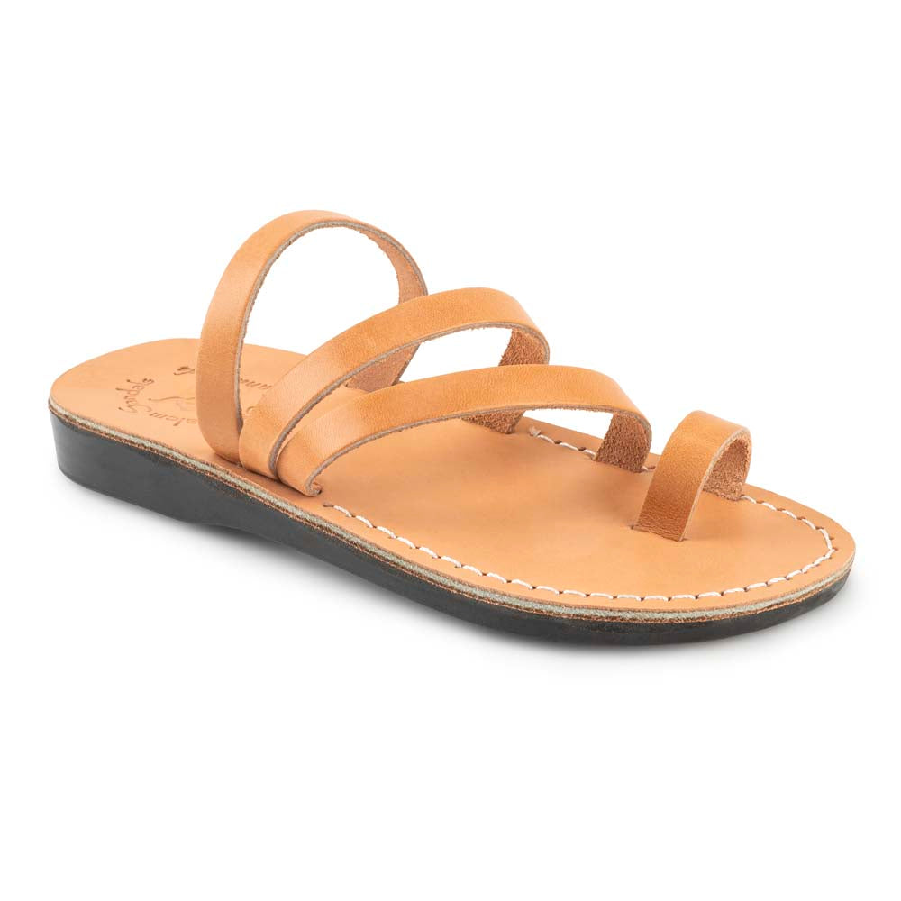 Nora Tan, handmade leather slide sandals with toe loop - Front View