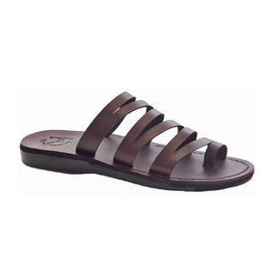 Ellie brown, handmade leather slide sandals with toe loop - Front View