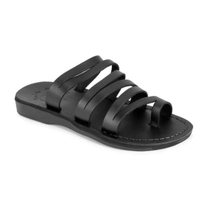 Ellie Black, handmade leather slide sandals with toe loop - Front View