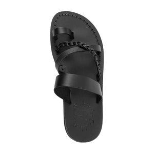 Sophia Black, handmade leather sandals with toe loop and cross straps - Up View