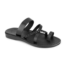Load image into Gallery viewer, Sophia Black, handmade leather sandals with toe loop and cross straps - Front View