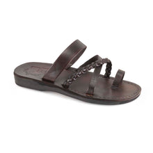 Load image into Gallery viewer, Sophia brown, handmade leather sandals with toe loop and cross straps - Front View