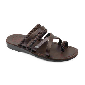 Uri brown, handmade leather slide sandals - Front View