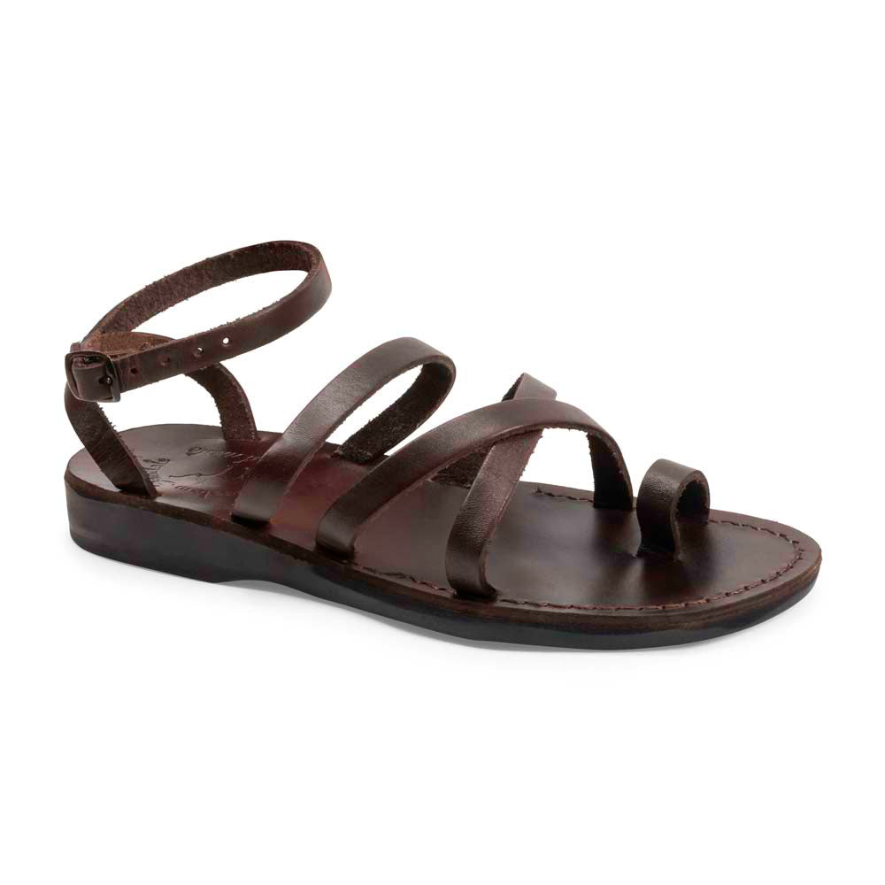 Jade brown, handmade leather sandals with back strap and toe loop - Front View