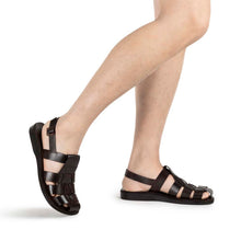 Load image into Gallery viewer, Michael Brown, handmade leather sandals fisherman sandal silhouette. Model View