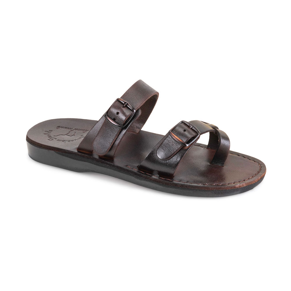 Eran Brown, handmade leather slide sandals with toe loop - Front View