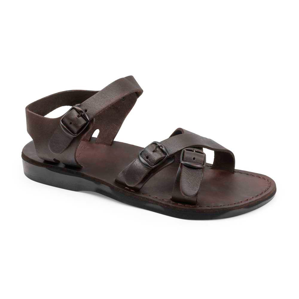 James Brown, handmade leather slide sandals with toe loop - Front View
