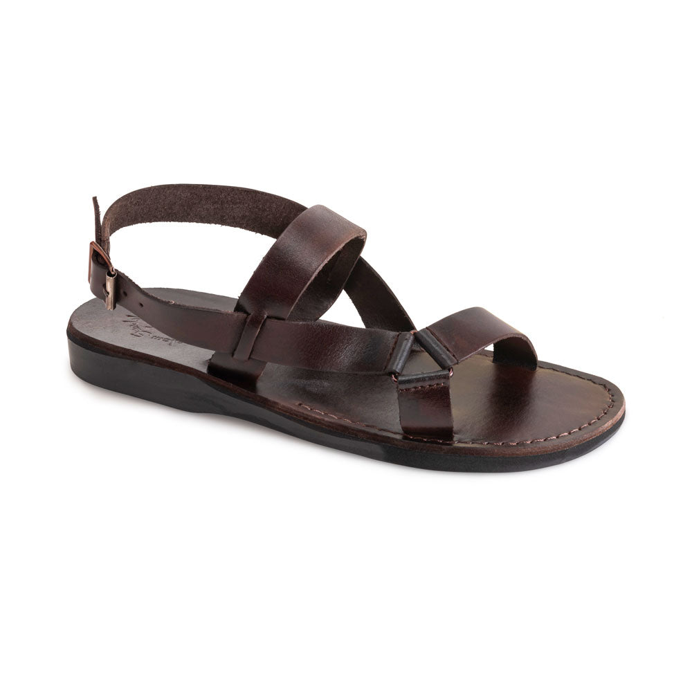 Jubal brown, handmade leather sandals with back strap - Front View