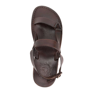 Jubal brown, handmade leather sandals with back strap - Up View