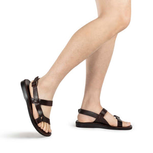 Jubal brown, handmade leather sandals with back strap - Model View