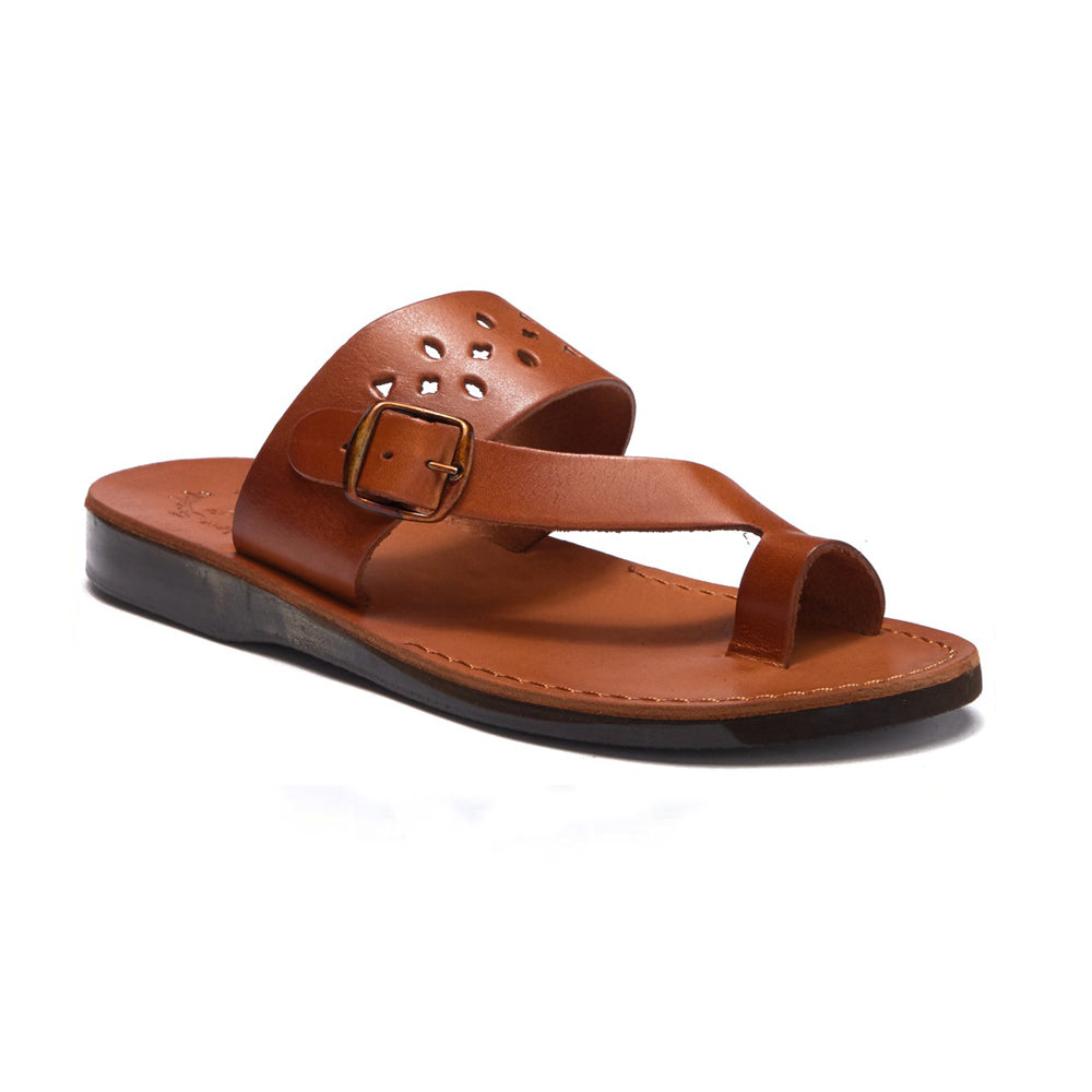 Ezra Honey, handmade leather slide sandals with toe loop - Front View