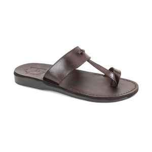 Nathan brown, handmade leather slide sandals with toe loop - Front View