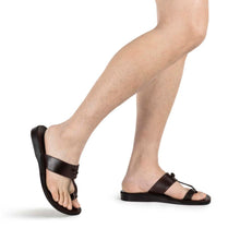 Load image into Gallery viewer, Nathan brown, handmade leather slide sandals with toe loop - Model View