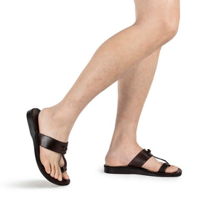 Nathan brown, handmade leather slide sandals with toe loop - Model View