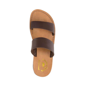 Aviv - Vegan Leather Sandal | Brown up view