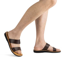 Load image into Gallery viewer, Aviv - Vegan Leather Sandal | Brown model view