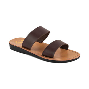 Aviv - Vegan Leather Sandal | Brown front view