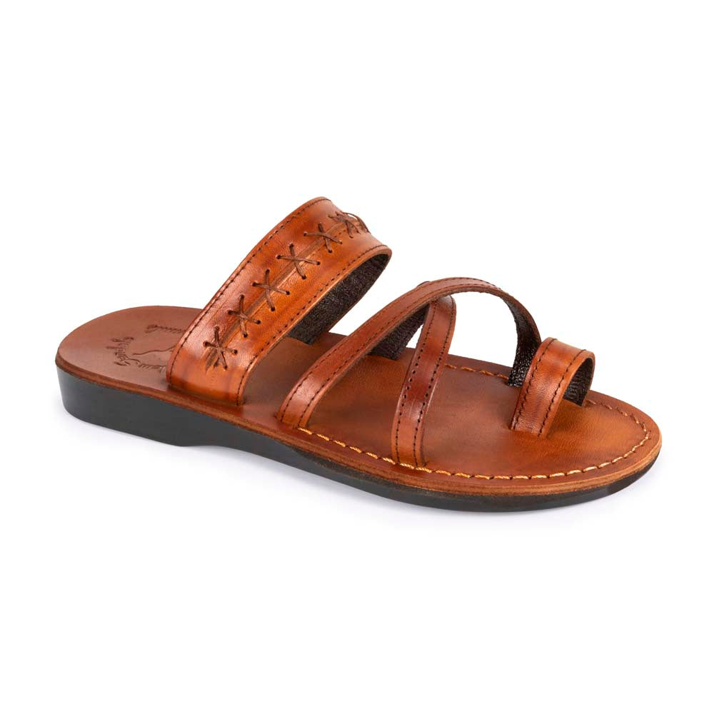 Rachel Honey , handmade leather slide sandals with toe loop - Front View