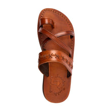 Load image into Gallery viewer, Rachel Honey , handmade leather slide sandals with toe loop - UP View