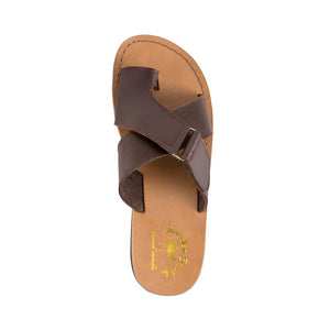 Asher - Vegan Leather Sandal | Brown up view