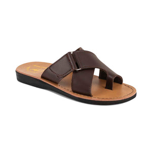 Asher - Vegan Leather Sandal | Brown front view