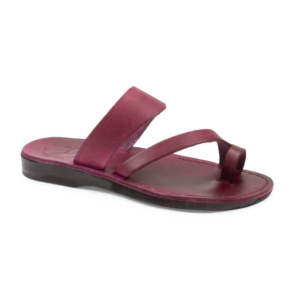 Zohar violet, handmade leather slide sandals with toe loop - Front View