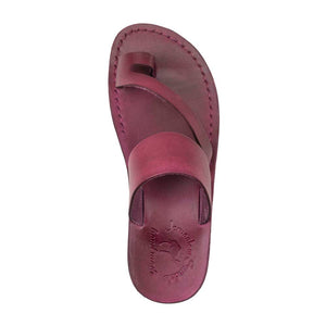 Zohar violet, handmade leather slide sandals with toe loop - up View