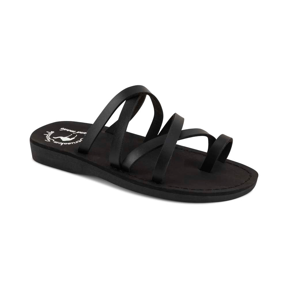 Ariel - Vegan Leather Sandal | Black front view