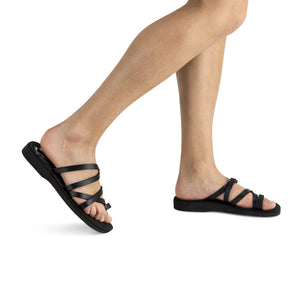 Ariel - Vegan Leather Sandal | Black model view