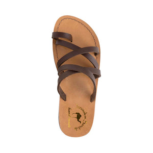 Ariel - Vegan Leather Sandal | Brown up view