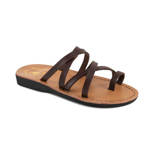 Ariel - Vegan Leather Sandal | Brown front view