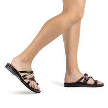 Load image into Gallery viewer, Ariel brown, handmade leather slide sandals with toe loop - Model View