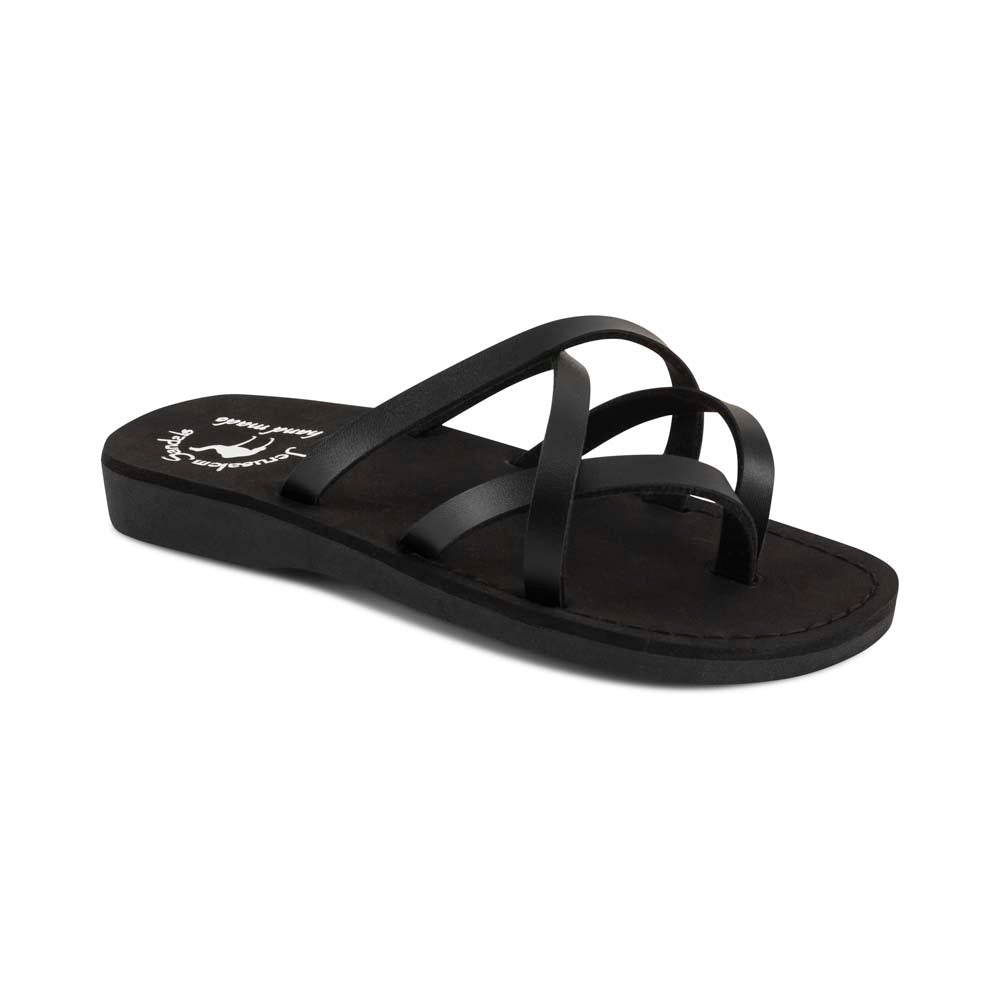 Tamar - Vegan Leather Sandal | Black front view