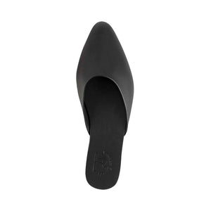 Myra -  Pointed toe Leather Mule | Black up view