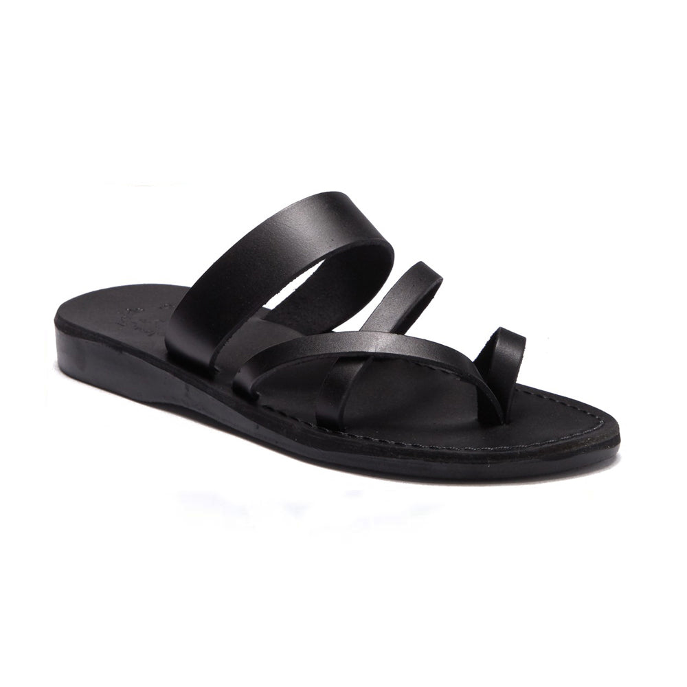 Exodus Black, handmade leather slide sandals with toe loop - Front View