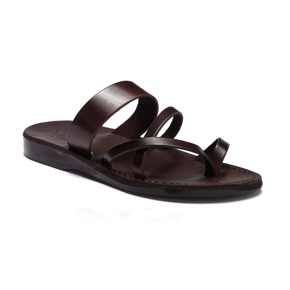 Exodus Brown, handmade leather slide sandals with toe loop - Front View