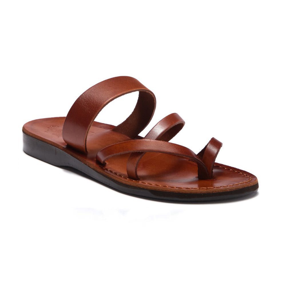 Exodus Honey, handmade leather slide sandals with toe loop - Front View