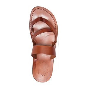 Exodus Honey, handmade leather slide sandals with toe loop - Top View