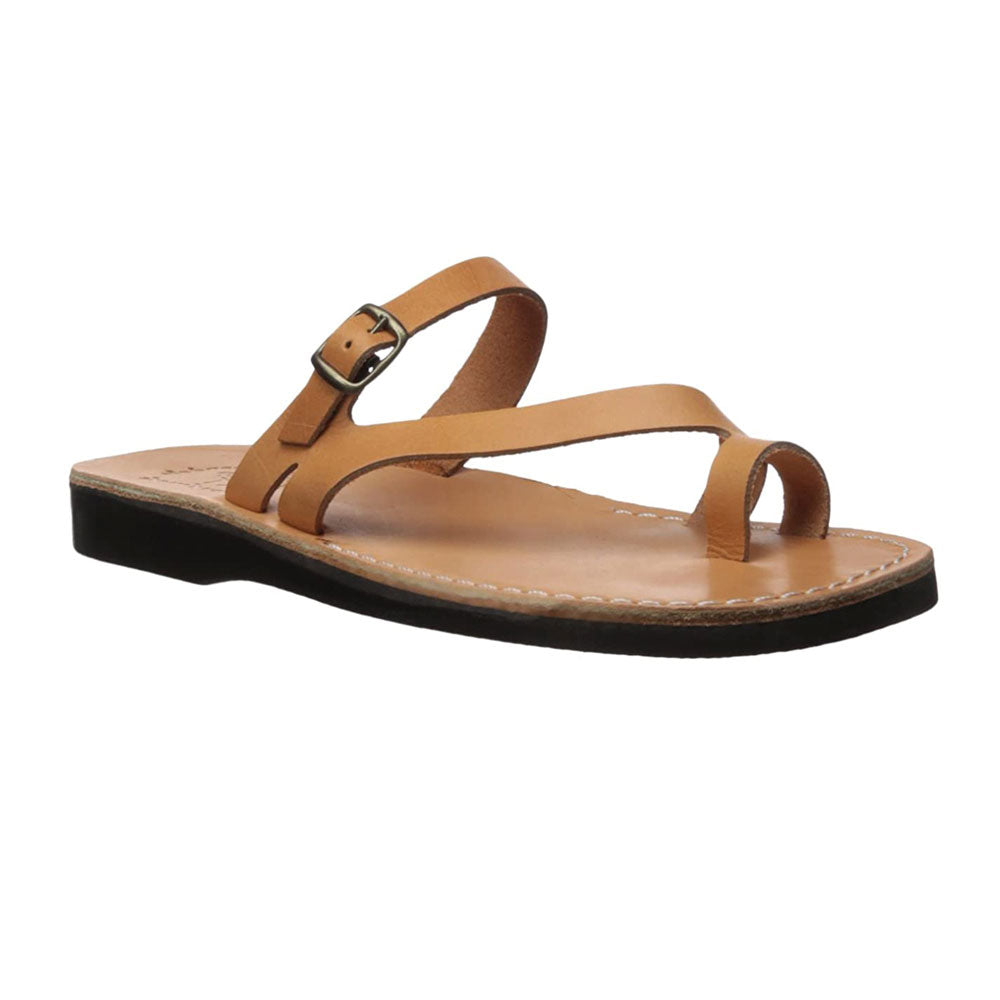 Nuri Tan, handmade leather slide sandals with toe loop - Front View