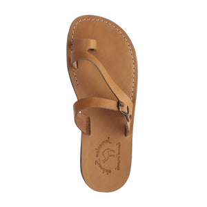 Nuri tan, handmade leather slide sandals with toe loop - up View
