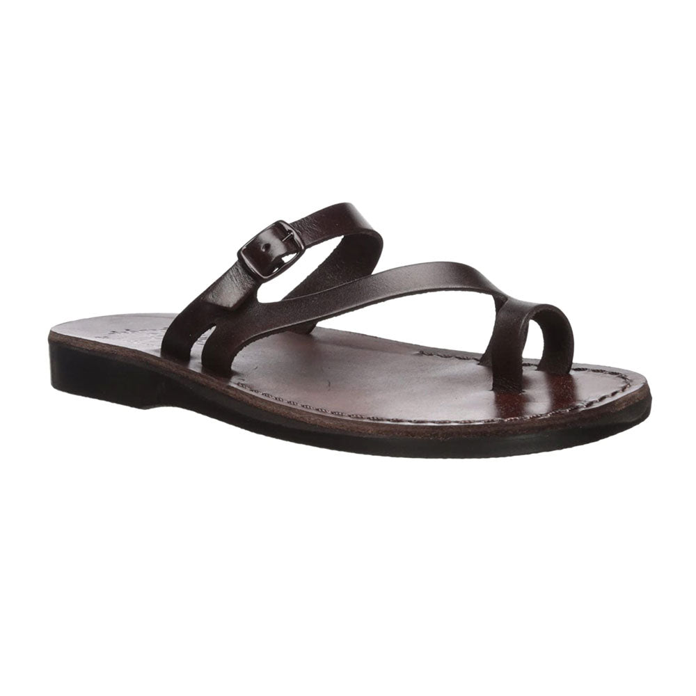 Nuri Brown, handmade leather slide sandals with toe loop - Front View