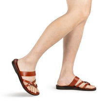 Load image into Gallery viewer, Exodus Honey, handmade leather slide sandals with toe loop - Front View
