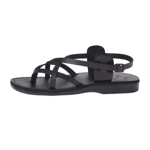 Tamar Buckle black, handmade leather sandals with back strap - right View