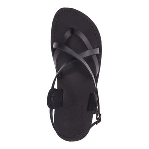 Tamar Buckle black, handmade leather sandals with back strap - Side View
