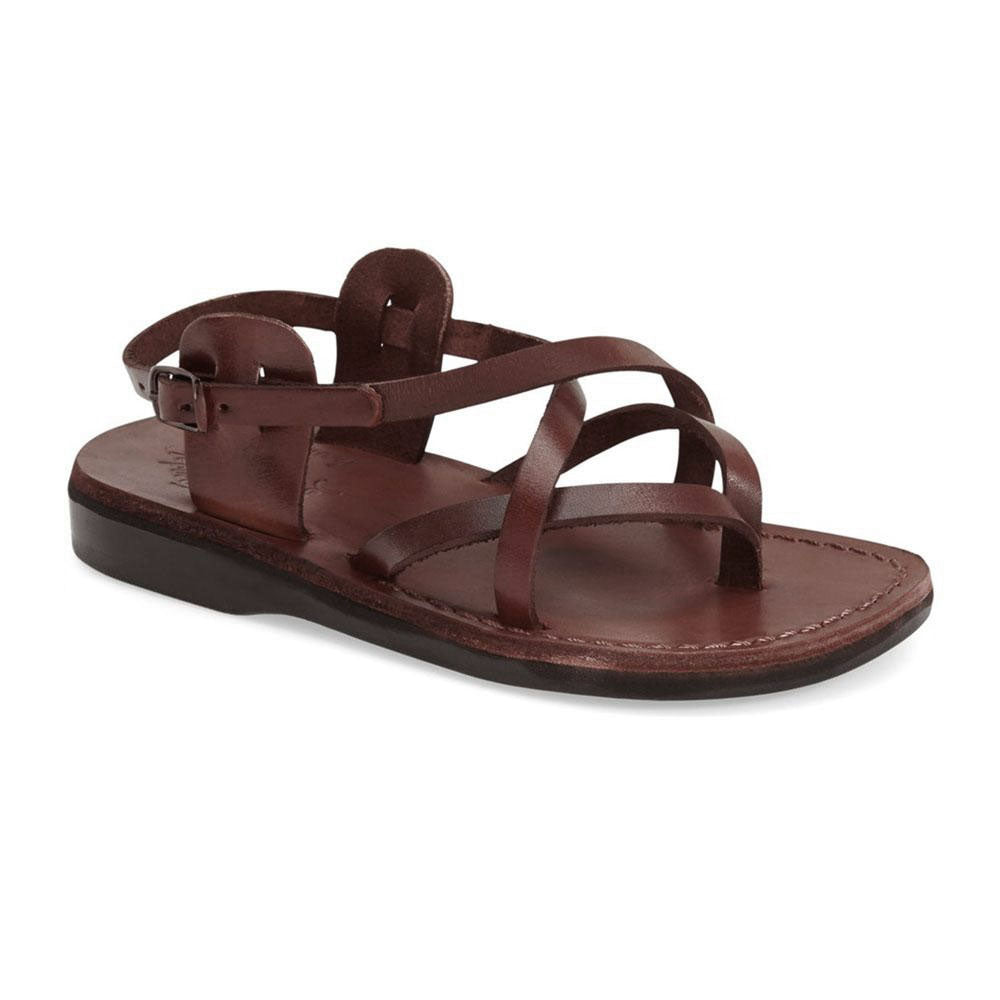 Tamar Buckle brown, handmade leather sandals with back strap - Front View