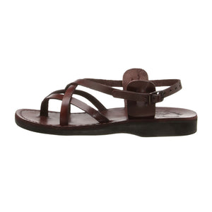 Tamar Buckle brown, handmade leather sandals with back strap - left View