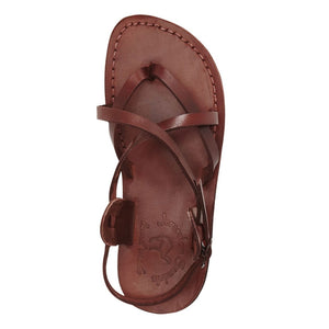 Tamar Buckle brown, handmade leather sandals with back strap - up View