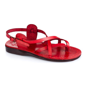 Tamar Buckle red, handmade leather sandals with back strap - Front View