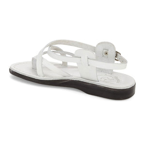 Tamar Buckle white, handmade leather sandals with back strap - back View