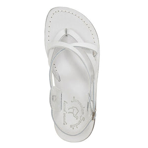 Tamar Buckle white, handmade leather sandals with back strap - up View